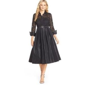 Eliza J - black long dress witchy Halloween Long sleeve floral lace size 10